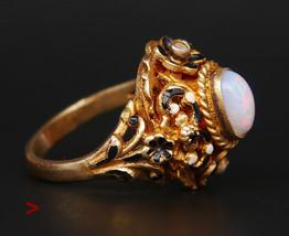 1920s Austrian-Hungarian Gilt Silver Ring  Opal Seed pearls Enamel Ø7.25... - $256.22