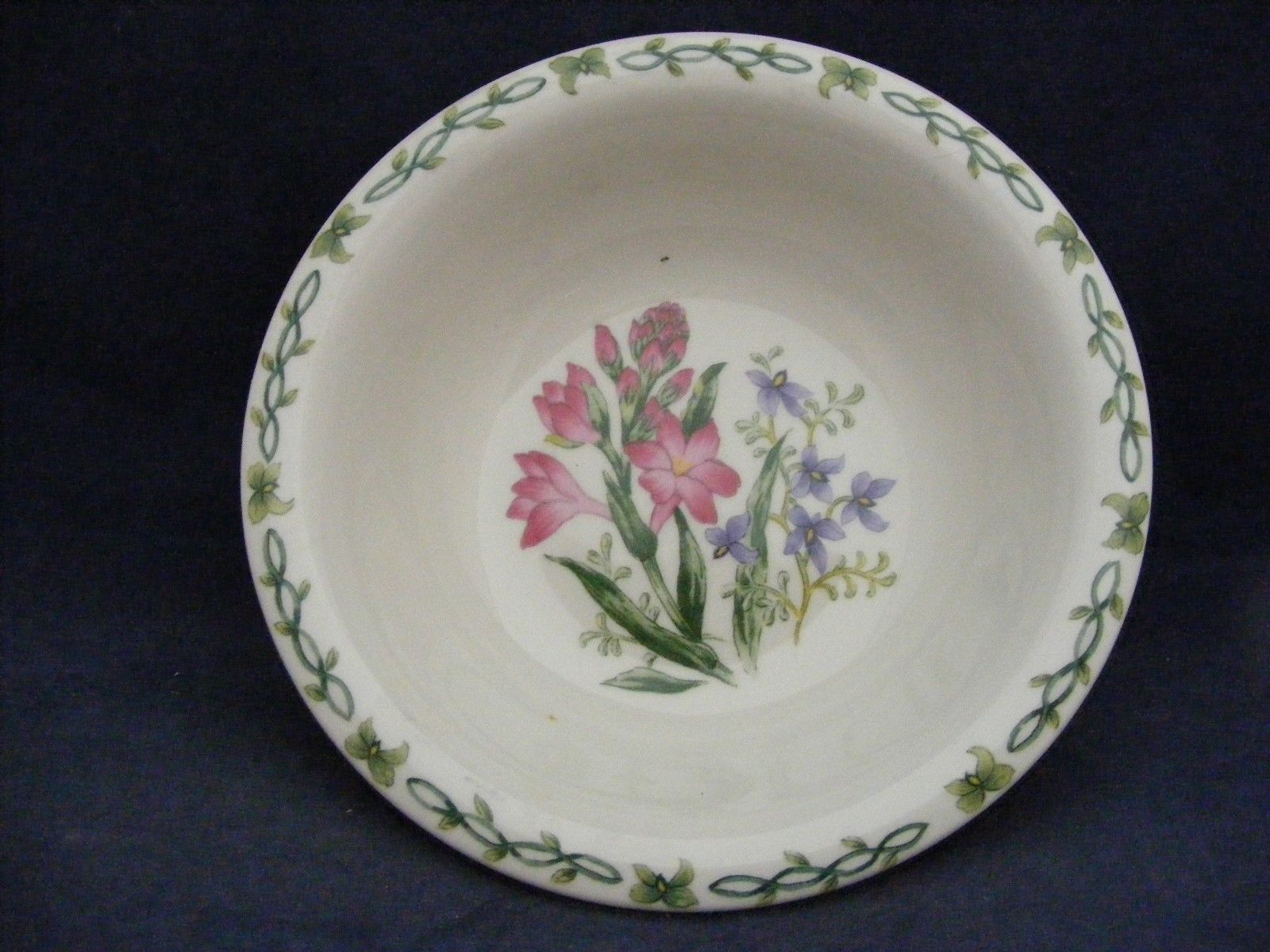 "Thomson Floral Garden 7"" Soup Bowl Pink & Blue Flowers"