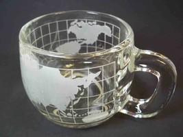 Vintage 1980s Nestle Nescafe World Globe glass mug cup Taste your way 8 oz - $6.43