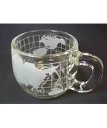 Vintage 1980s Nestle Nescafe World Globe glass mug cup Taste your way 8 oz - $6.43