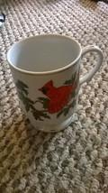 Lefton Hand Painted Cardinal Pedestal Mug White Gold Trim Holiday Pattern  - $7.91