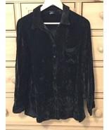 FABULOUS MODA INTERNATIONAL BLACK VELVET SHIRT, Size Medium - $11.87