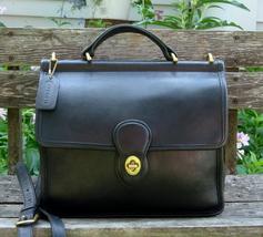 Vintage Coach Black Leather Willis Cross Body Messenger Bag - $95.00