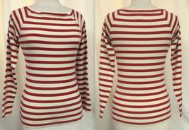 RALPH LAUREN Striped Pullover Long Raglan Sleeves Boat Neck Red & Off White Sz S - $19.59