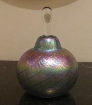 IRIDESCENT SWIRL BLOWN TROUT STUDIOS ART GLASS PERFUME BOTTLE SIGNED - $44.00