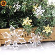DIYHouse® 6PCS/Lot DIY Transparent/Gold/Silver Acrylic Snowflakes Christmas - $2.73+