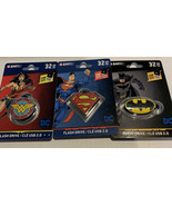 Lot of 3 Emtec 32GB USB Flash Drive Key Chains Batman, Wonder Woman, Sup... - $14.54