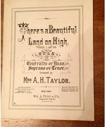 There's A Beautiful Land on High Sheet Music Violin and Piano A. H. Taylor - $19.79