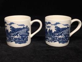 Pair of Blue & White Transferware English Cottage Scene 8 oz Coffee Mugs... - $18.80
