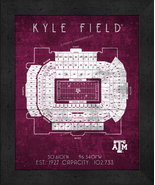 "Texas A&M Kyle Field ""Retro"" Stadium Seating Chart 13x16 Framed Print  - $39.95"