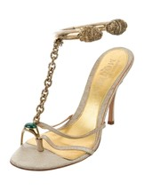 ALEXANDER MCQUEEN EMBELLISHED DISTRESS GOLD DRAGON CUFF SANDALS. 40.5 VE... - $2,475.00
