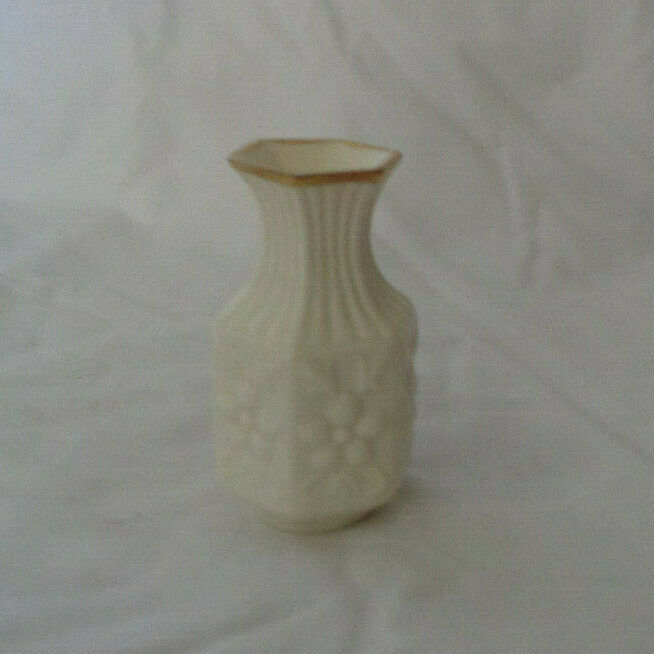 "Miniature Aynsley Bud Vase Camellia Cream pattern 3 1/2"" tall image 2"