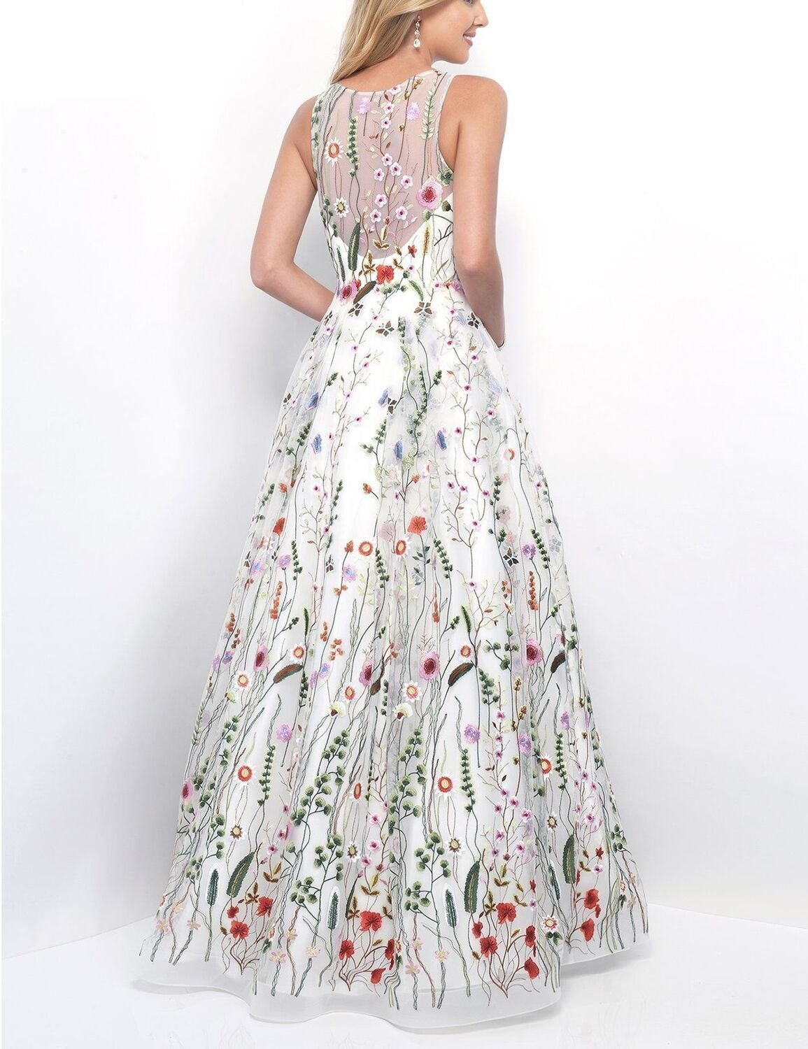 Women's Ball Gown Scoop Neck Embroidery Floral Print Long Evening Prom Dresses