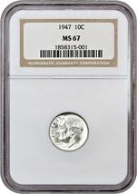 1947 10c NGC MS67 - Roosevelt Dime - $72.75