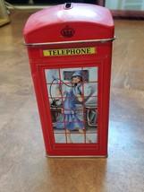 """ENGLAND  6"""" HIGH  METAL TELEPHONE BOOTH BANK TIN  - $12.95"""