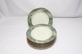 "Mikasa Travertine Green Rim Soup Bowls 8.5"" Set of 8 - $78.39"