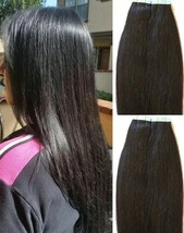 """18"""",20"""" 100gr,40pc,Tape in Hair Extensions 100% Remy Human Hair #1B OFF Black - $98.99+"""