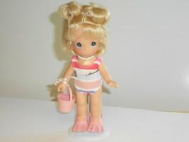 "Precious Moments GIRL DOLL Vinyl Beach Sand Pail Swimsuit Flippers 7"" 2002 - $19.79"