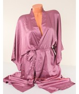 VICTORIA'S SECRET Satin Silky Kimono Robe Ties w Belt 2 Pockets M /L Mau... - $54.99