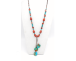 Turquoise Necklace, Blue Hubei Turquoise Beads, Red Jasper Beads, Copper Beads - £45.05 GBP