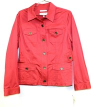 Jones New York Sport Women M Denim Stretch Jean Jacket Rhubarb :Pink NWT... - $39.00
