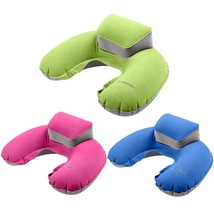 Travel Neck Pillow Support Nap Inflatable Portable Flocking PVC Blue Gre... - $8.80