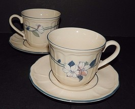 2 Epoch Apple Blossom Scalloped Edge E941N Cups Saucer Floral Pattern Bl... - $24.74