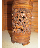 Chinese Carved Brush Pot Relief Dragon Pheasant Deer Many Animals - $173.25