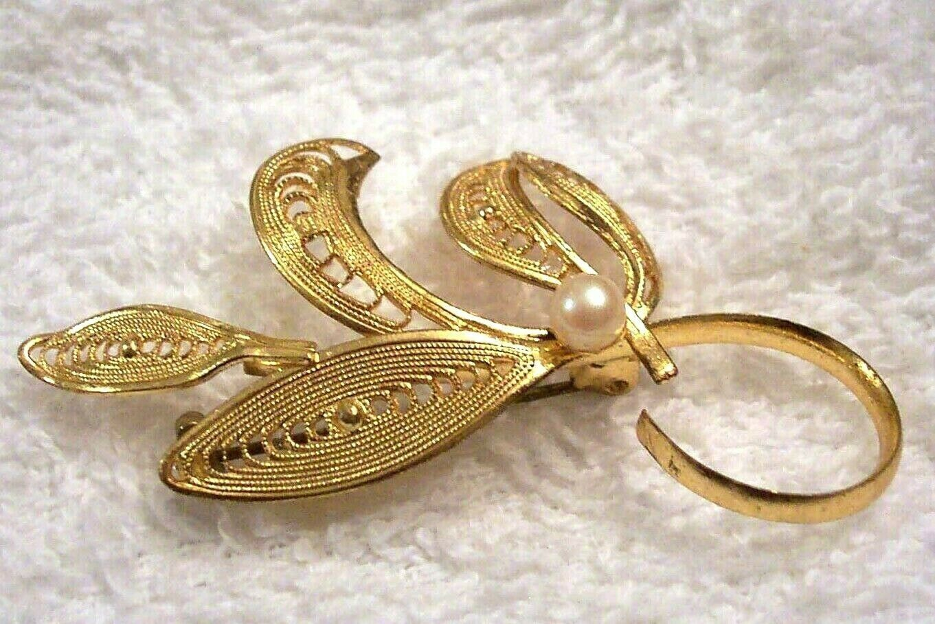Primary image for Filigree Pin Gold Plated Western Germany Mid Century Modern Art Deco VTG Brooch