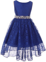 Flower Girl Dress Hi-Low Style Lace Allover Royal MBK 360 - $39.59+
