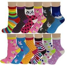 12 Pairs Pack Kids Girls Colorful Creative Fun Novelty Design Crew (6-8 ... - $21.11