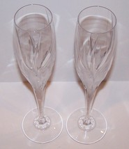 "STUNNING PAIR OF MIKASA CRYSTAL FLAME D'AMORE 10 3/4"" CHAMPAGNE FLUTES image 2"