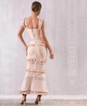 2021 New Summer Women Maxi Hollow Out Bandage Dress Sexy Sleeveless Tassel Club  image 4