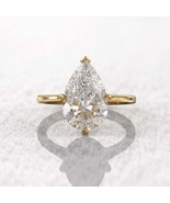 3Ct Pear Shaped Solitair Engagement Ring 14K yellow Pleting 925 Starling Silver  - $101.00