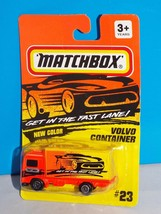 Matchbox Mid 1990s Release #23 NEW COLOR Volvo Container Truck Flor Orange - $7.00