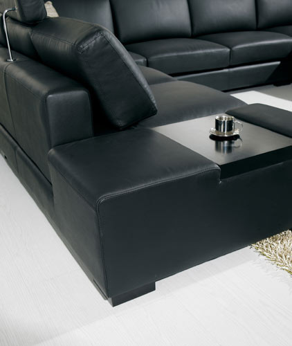 T35 Modern Black Sectional Sofa And 50