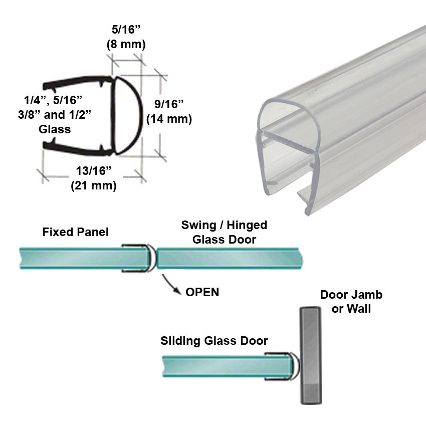 "Primary image for Universal Clear Polycarbonate U-Channel with Soft Bulb Seal for 1/4"", 5/16"", 3/8"