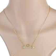UE-Trendy Gold Tone Heart & Arrow Pendant Necklace With Swarovski Style Crystals - $15.99