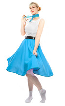 Turquoise Blue Circle Skirt & Sheer Scarf Set - 50s Sock Hop Retro Swing... - $34.50