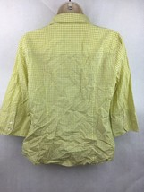 "Girl's J. Crew Green Plaid Button Up 3/4 Sleeve Shirt 20"" L 19"" W 16"" Sleeve image 2"