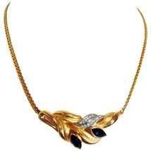 MINT. Vintage LANVIN golden chain necklace with golden leaf motif pendant top. - $202.00