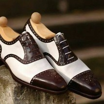 Men Two Tone Oxford White Brown Premium Quality Leather Magnificent Lace... - $139.99+