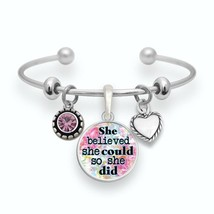 She Believed She Could so She Did Silver Cuff Bracelet Inspirational Jewelry - $13.80