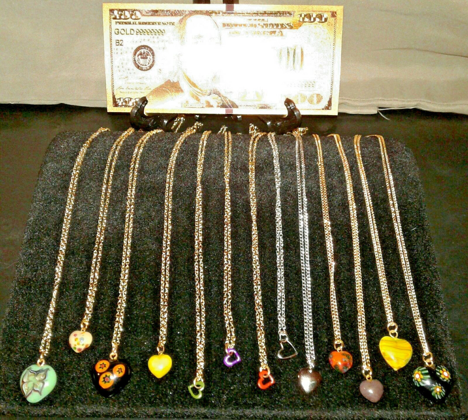 Primary image for 12Pc. BEAUTIFULLY DESIGNED HEART NECKLACES> CHARM Pendants+GOLD $100 Rep.