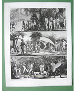 BRAZIL Natives Indians Games Duel - 1844 SUPERB Original Print Engraving - $22.95
