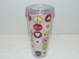 PEACE HOPE LOVE CLEAR HARD PLASTIC TRAVEL TUMBLER DRINK CUP W/O STRAW EUC  - $14.99