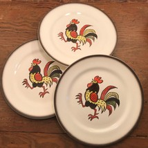 Red Rooster Metlox 3 Dinner Plates Brown Band Poppytrail Vernon 56596 - $38.82