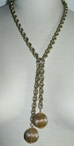VTG Gold Tone Multi Link Chain Ball Tassel Necklace Lariat - $29.70