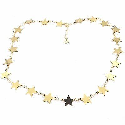 CHOKER NECKLACE YELLOW GOLD 750 18K, STARS FLAT, 40 CM
