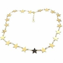 CHOKER NECKLACE YELLOW GOLD 750 18K, STARS FLAT, 40 CM - $863.24